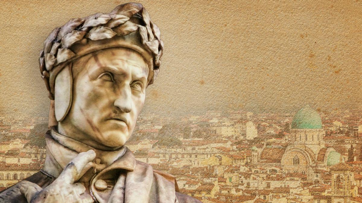 Statue des Dichters mit Ansicht vom Dom in Florenz