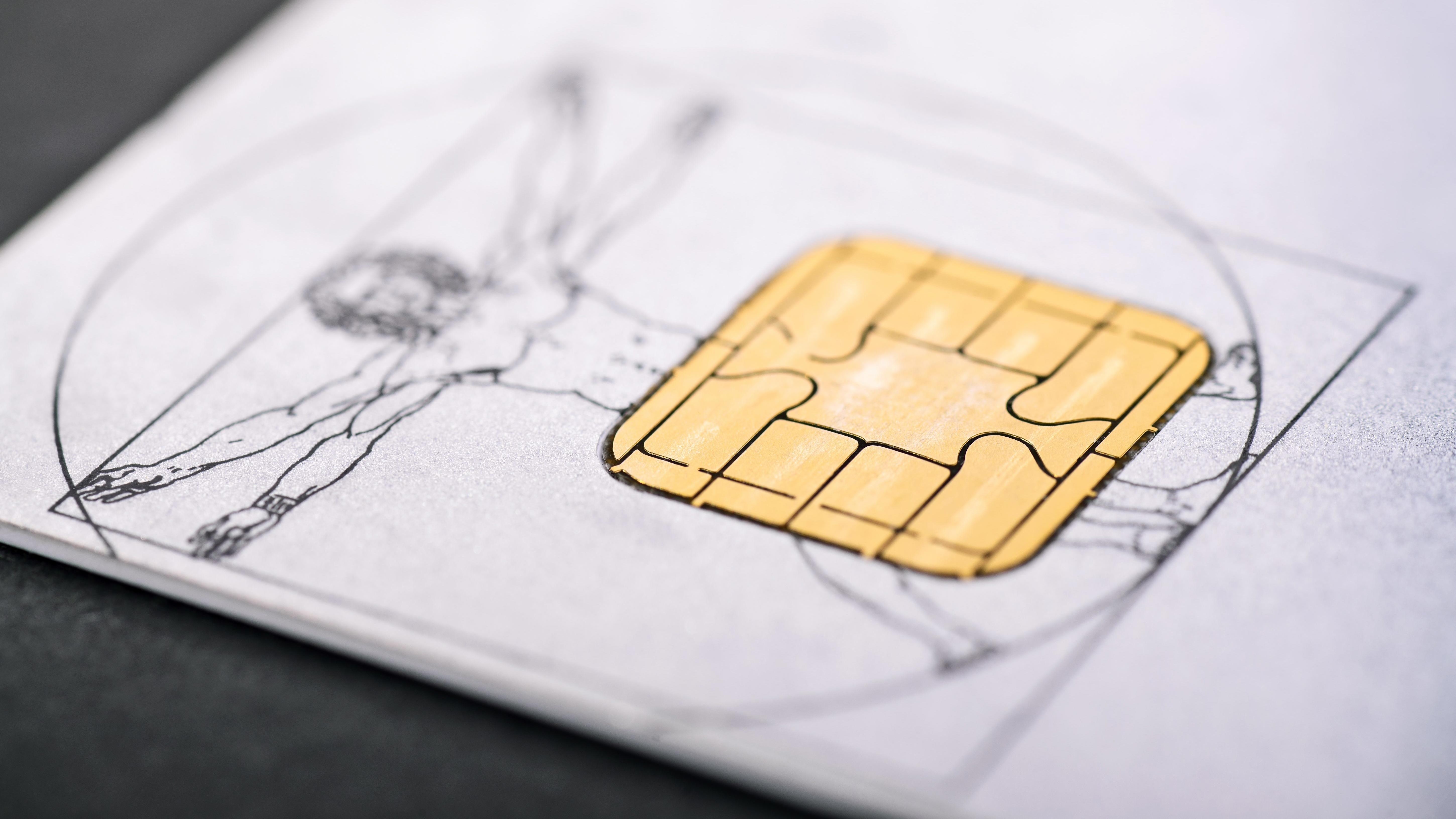 Der Chip auf einer Gesundheitskarte