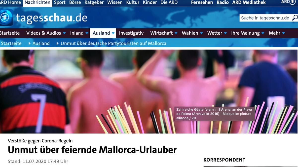 Screenshot von Tagesschau-Homepage