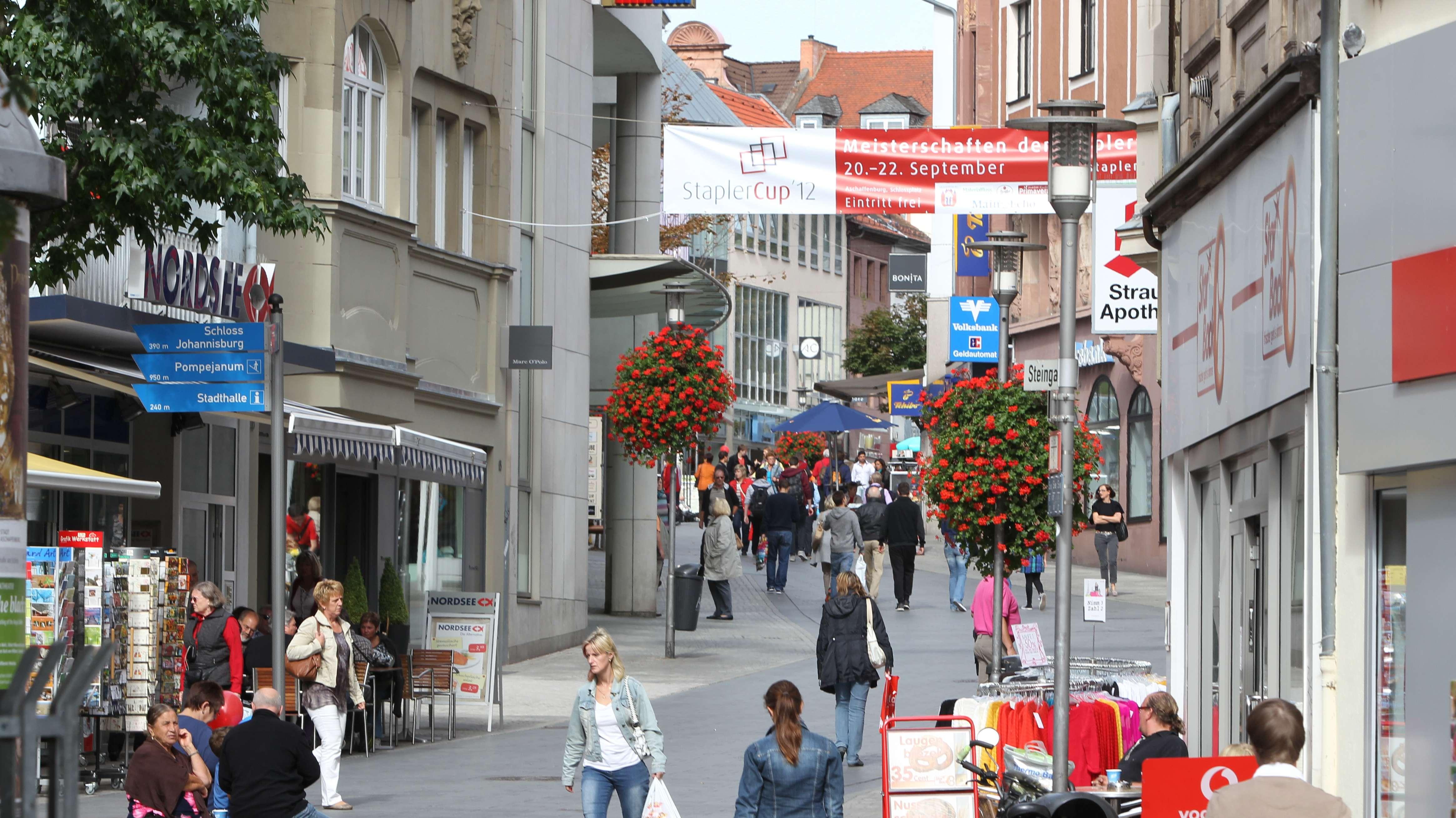 Die Fußgängerzone von Aschaffenburg