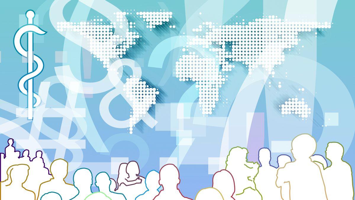 Grafische Darstellung von Menschen und den Kontinenten