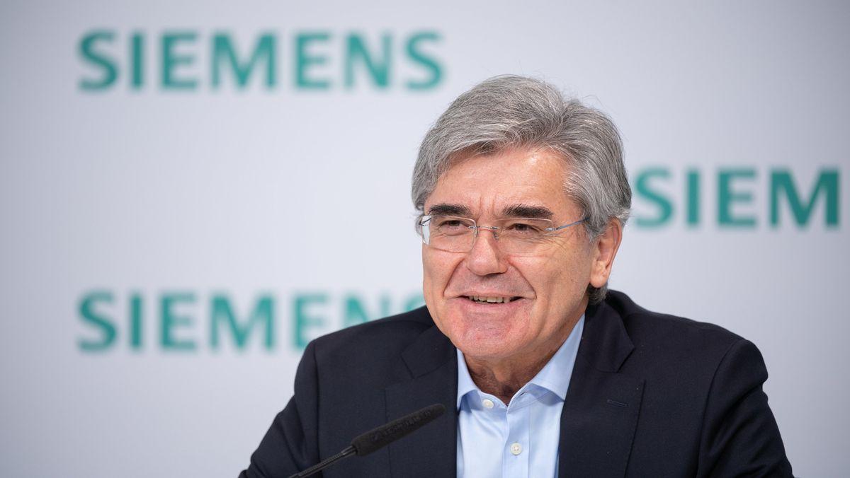 Joe Kaeser, Vorstandsvorsitzender von Siemens, spricht auf der Jahrespressekonferenz von Siemens.