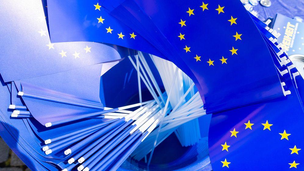 Symboldbild: EU-Fähnchen in einem Eimer | Bild:dpa-Bildfunk