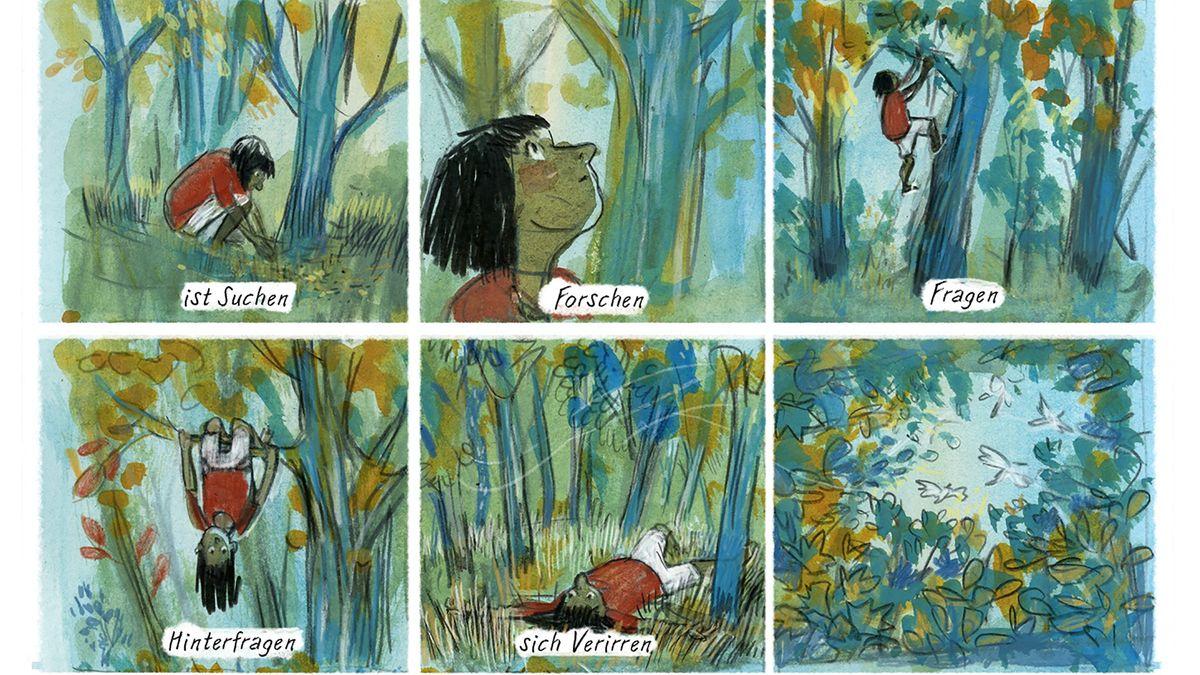 Zeichnen ist suchen, forschen, fragen - und so viel mehr. Auszug aus einem Comic-Strip von Barbara Yelin zum Thema Zeichnen.