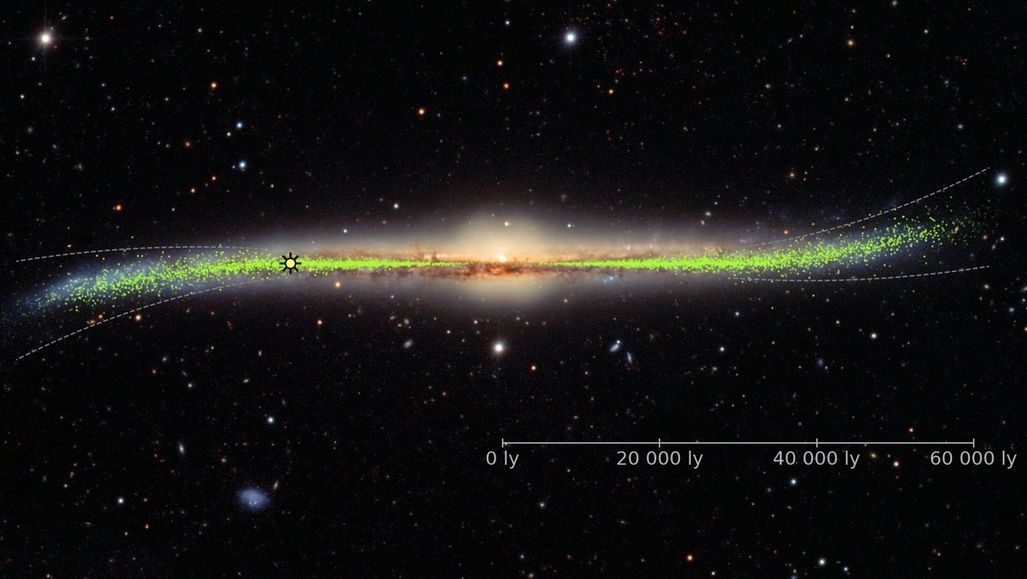 Darstellung der verbogenen Scheibe der Milchstraße: Astronomen haben mit Hilfe von Cepheiden-Sternen festgestellt, dass unsere Galaxie keine ganz flache Scheibe ist.