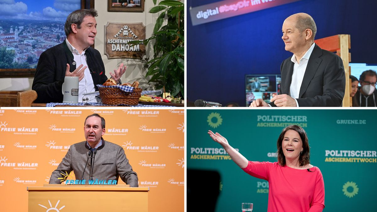 Von links oben im Uhrzeigersinn: CSU-Chef Söder, SPD-Kanzlerkandidat Scholz, Freie-Wähler-Chef Aiwanger und Grünen-Chefin Baerbock.