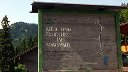 Ruhe und Erholung im Staatswald steht auf einem Holzschild am Eingang zu Valepp im Spitzinggebiet | Bild:Frank Mächler,dpa