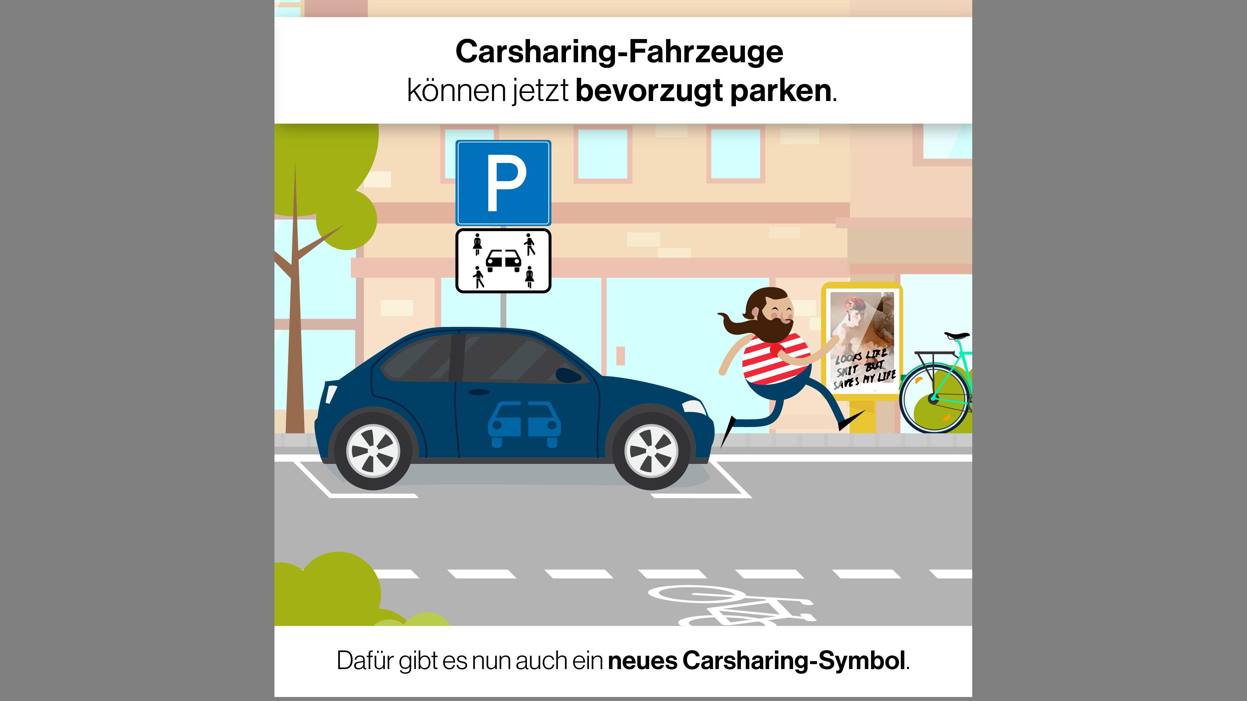 Grafik: Parkplatz für Carsharing-Autos