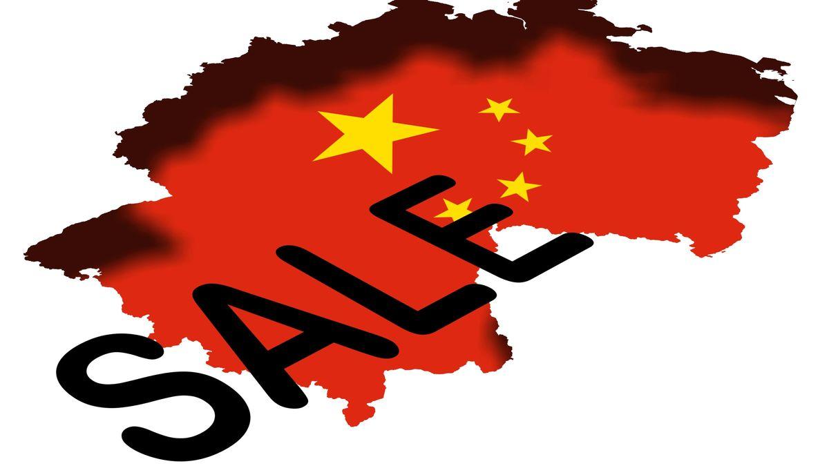 Landkarte mit Chinaflagge