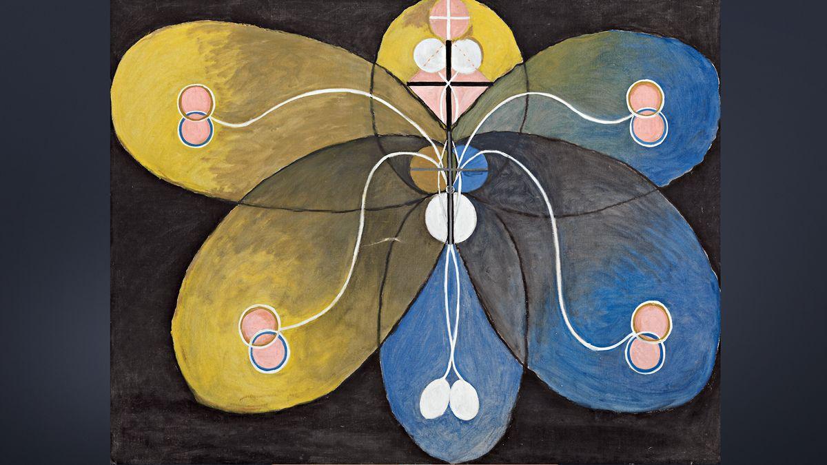 Abstraktes Gemälde, das einen stilisierten gelb-blauen Schmetterling vor grauem Hintergrund zeigt.