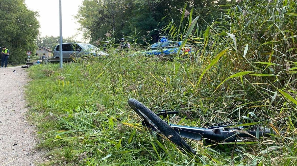 Fahrrad liegt in Gras