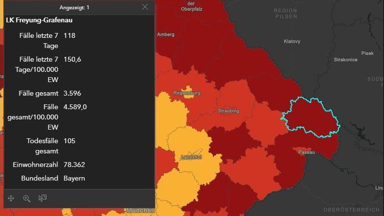 Screenshot der RKI-Seite, auf dem der Landkreis Freyung-Grafenau gekennzeichnet ist.