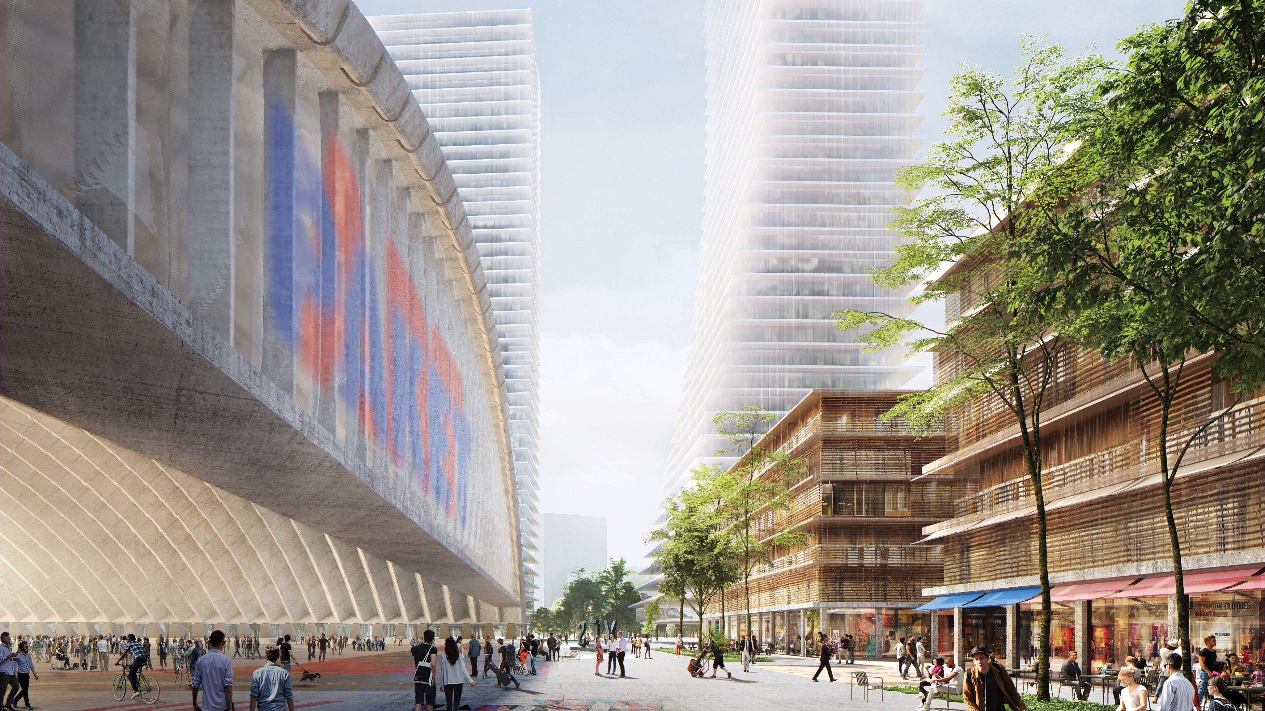 Links die Paketposthalle, dahinter die Hochhäuser. So soll das neue Stadtteilzentrum aussehen.