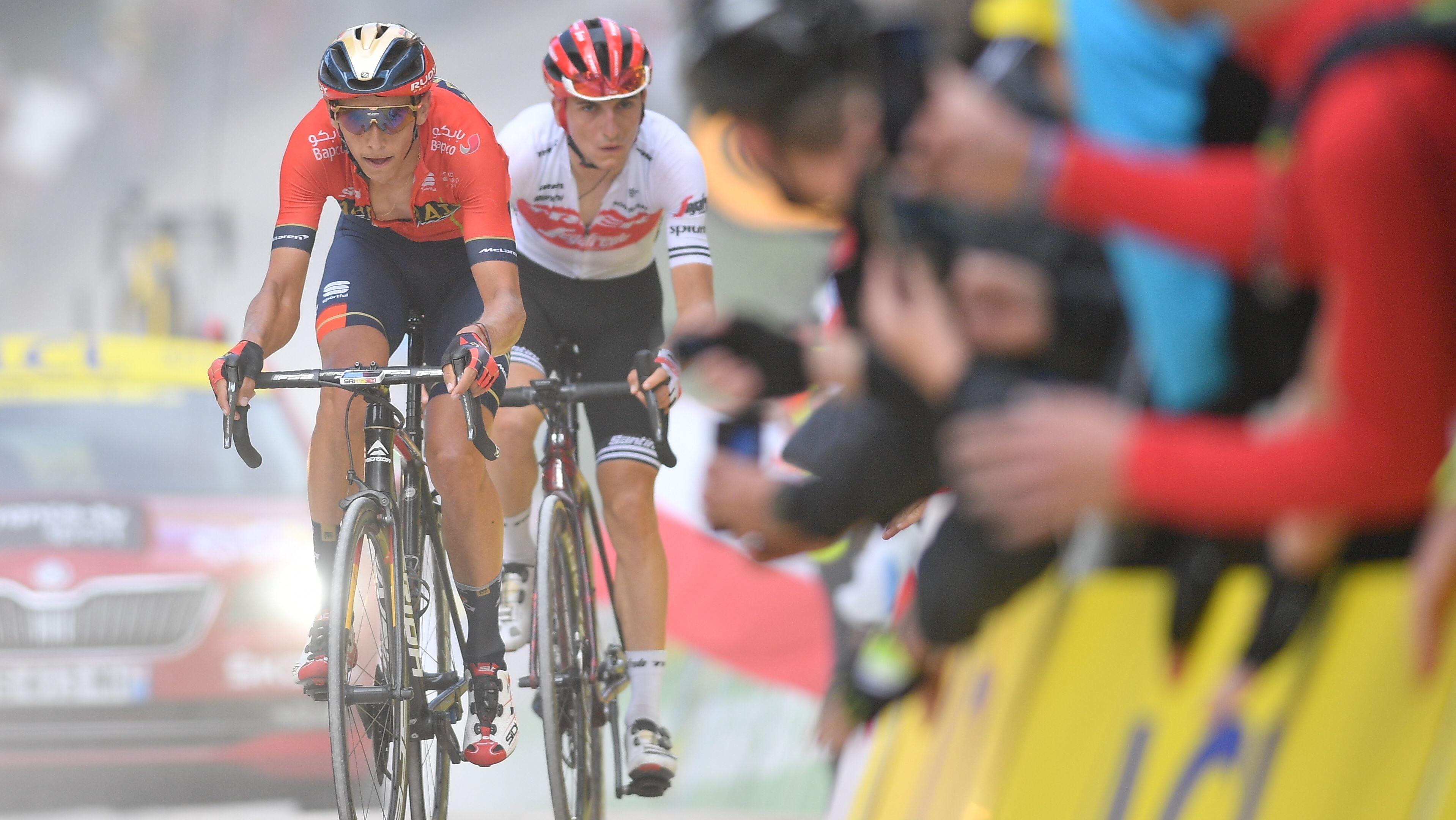 Giulio Ciccone (rechts) und Dylan Teuns auf der sechsten Etappe der Tou de France 2019
