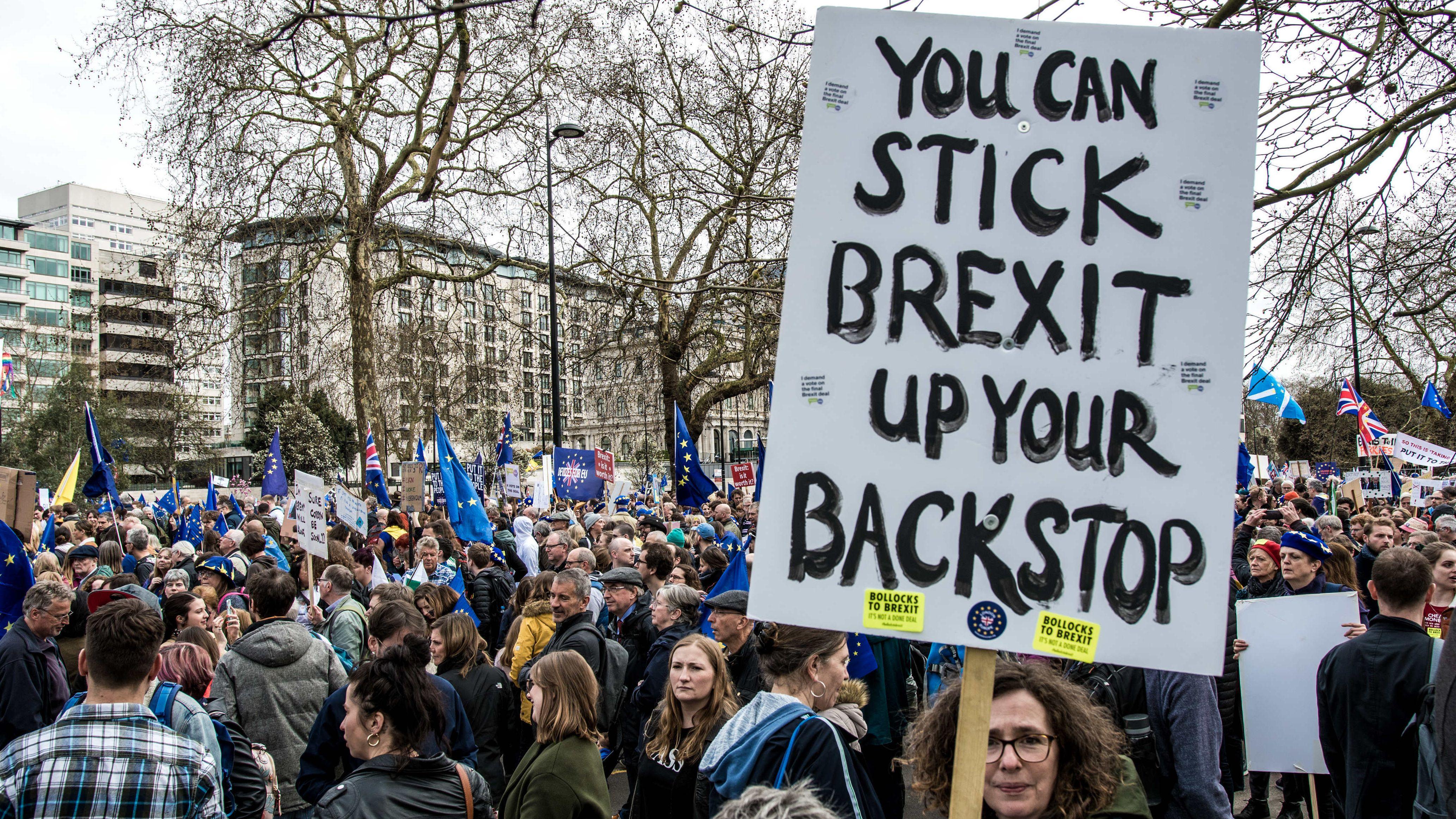 Demonstranten, die im März ein Referendum über ein mögliches Austrittsabkommen forderten