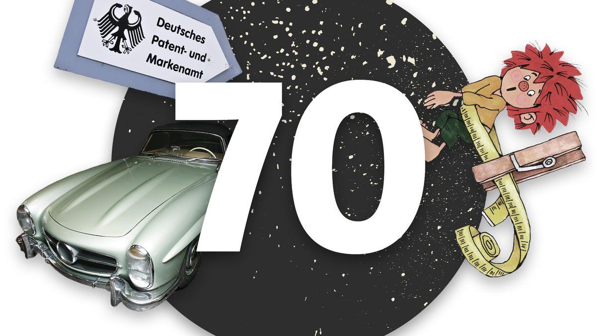 Eine Collage bestehend aus Pumuckl, einem Auto der Marke Mercedes-Benz, der Zahl 70 und dem Wegweiser zum Deutschen Patent- und Markenamt in München