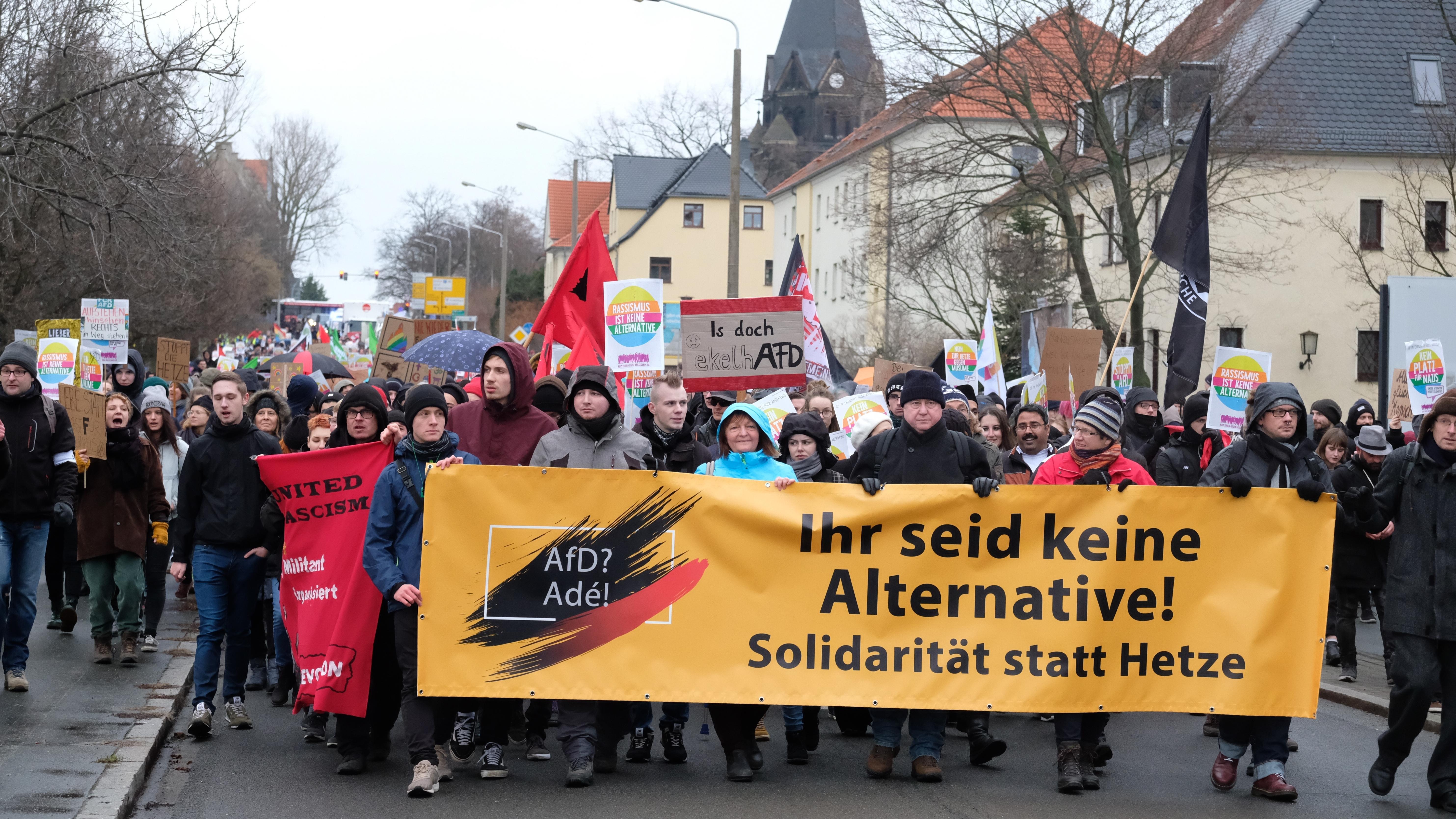 AfD-Gegner demonstrieren in Riesa