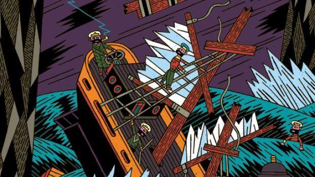 Illustration von Henning Wagenbreth: Verzweifelte Seemänner auf einem sinkenden Schiff