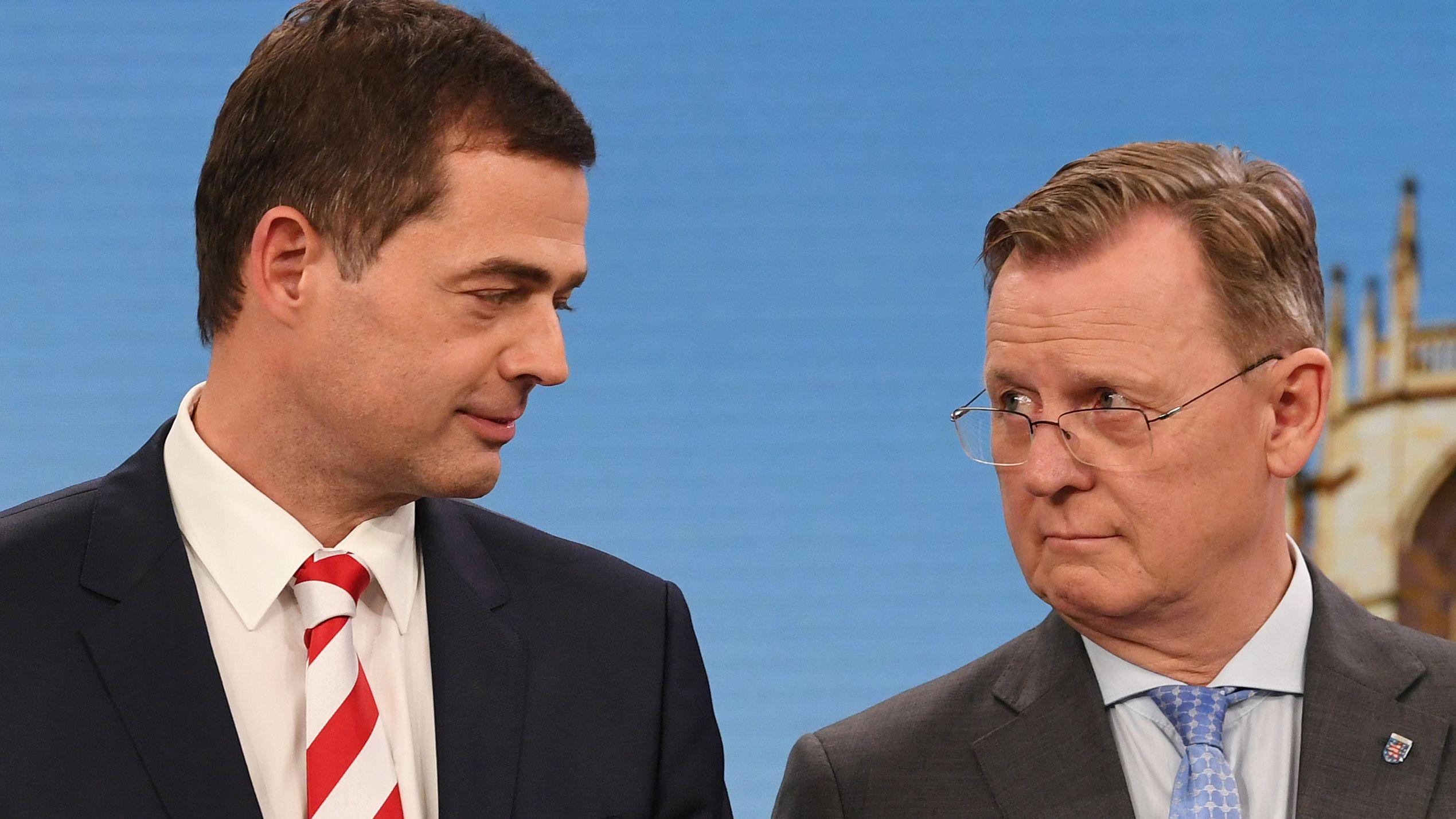 Mike Mohring, (CDU) und Bodo Ramelow (Die Linke) in Erfurt.