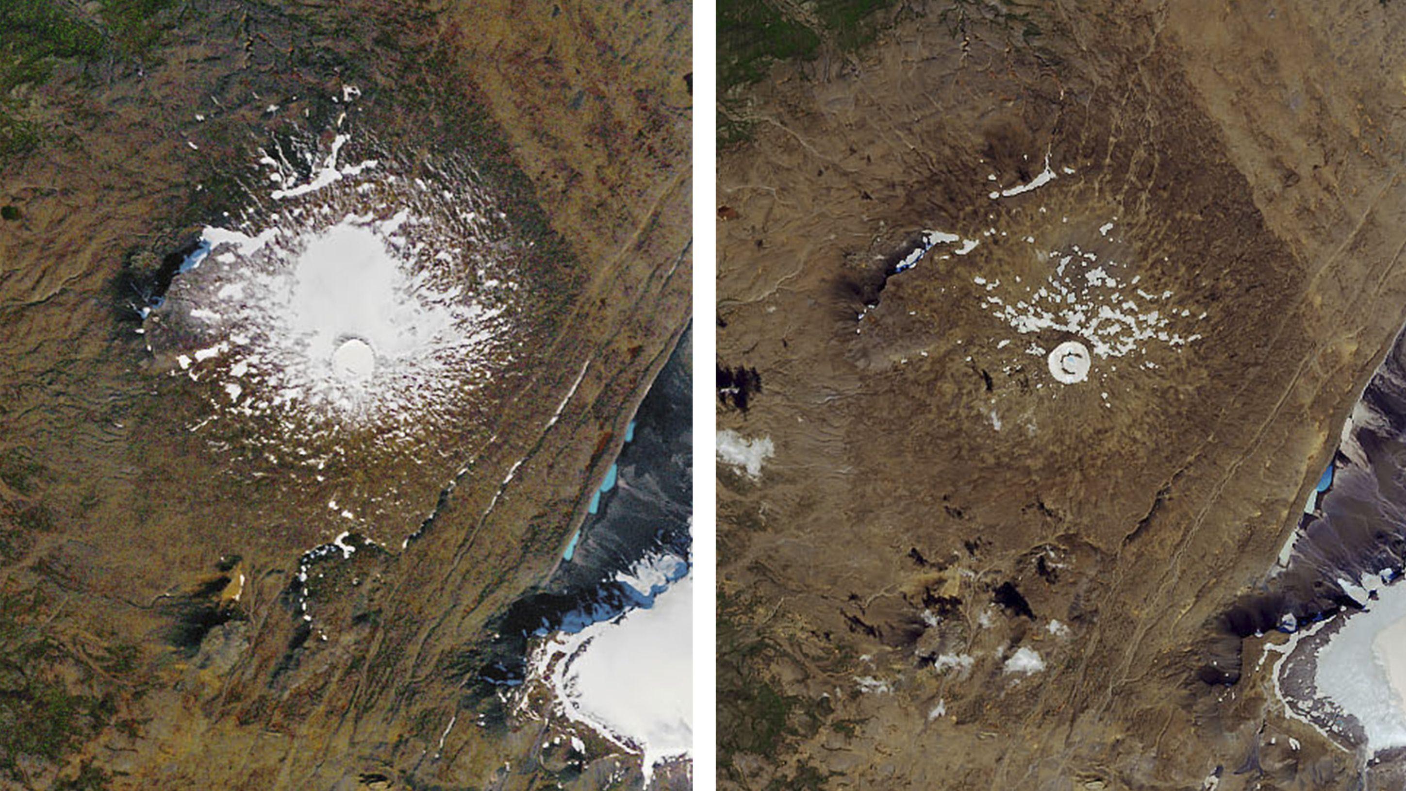 Linkes Bild: 14. September 1986. Luftaufnahme des damals noch existierenden Okjökull-Gletscher auf dem Gipfel des Vulkans Ok. Rechtes Bild: 1. August 2019.