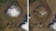 Linkes Bild: 14. September 1986. Luftaufnahme des damals noch existierenden Okjökull-Gletscher auf dem Gipfel des Vulkans Ok. Rechtes Bild: 1. August 2019.   Bild:dpa-Bildfunk