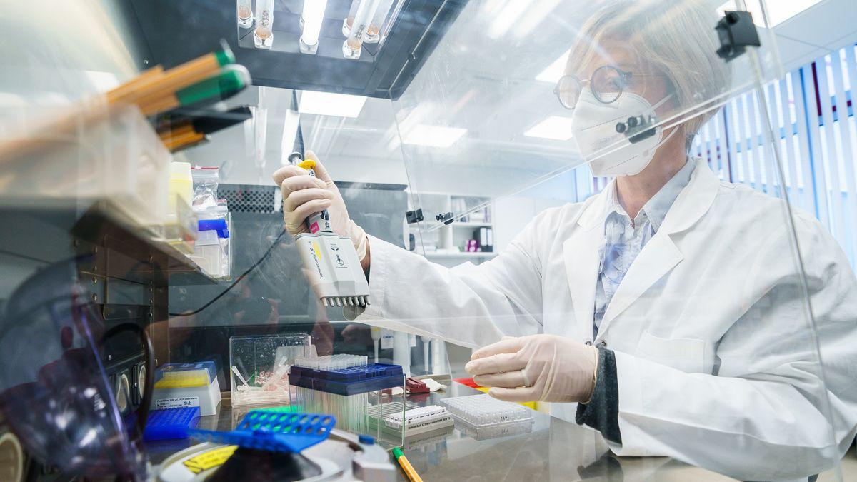 Eine Forscherin pipettiert Proben in einem Labor.
