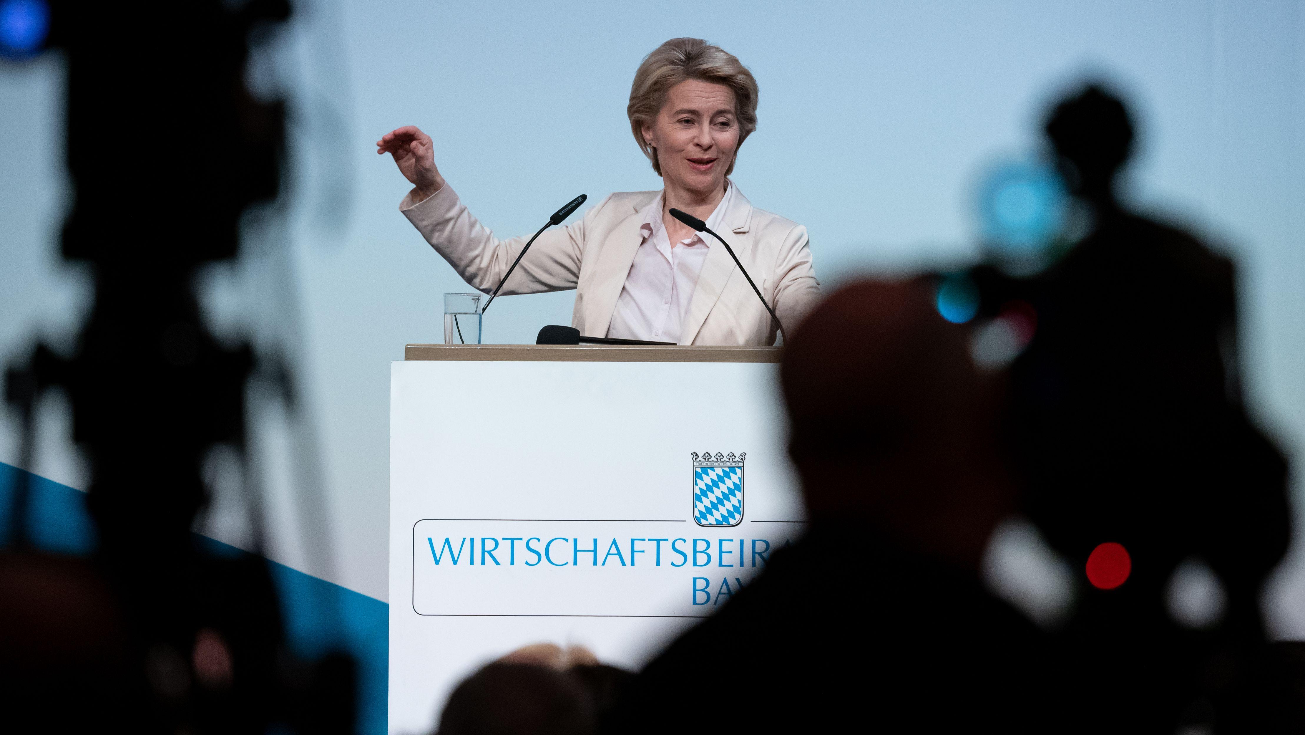 Ursula von der Leyen (CDU), designierte Präsidentin der Europäischen Kommission, nimmt an der Generalversammlung des Wirtschaftsbeirats der Union teil.