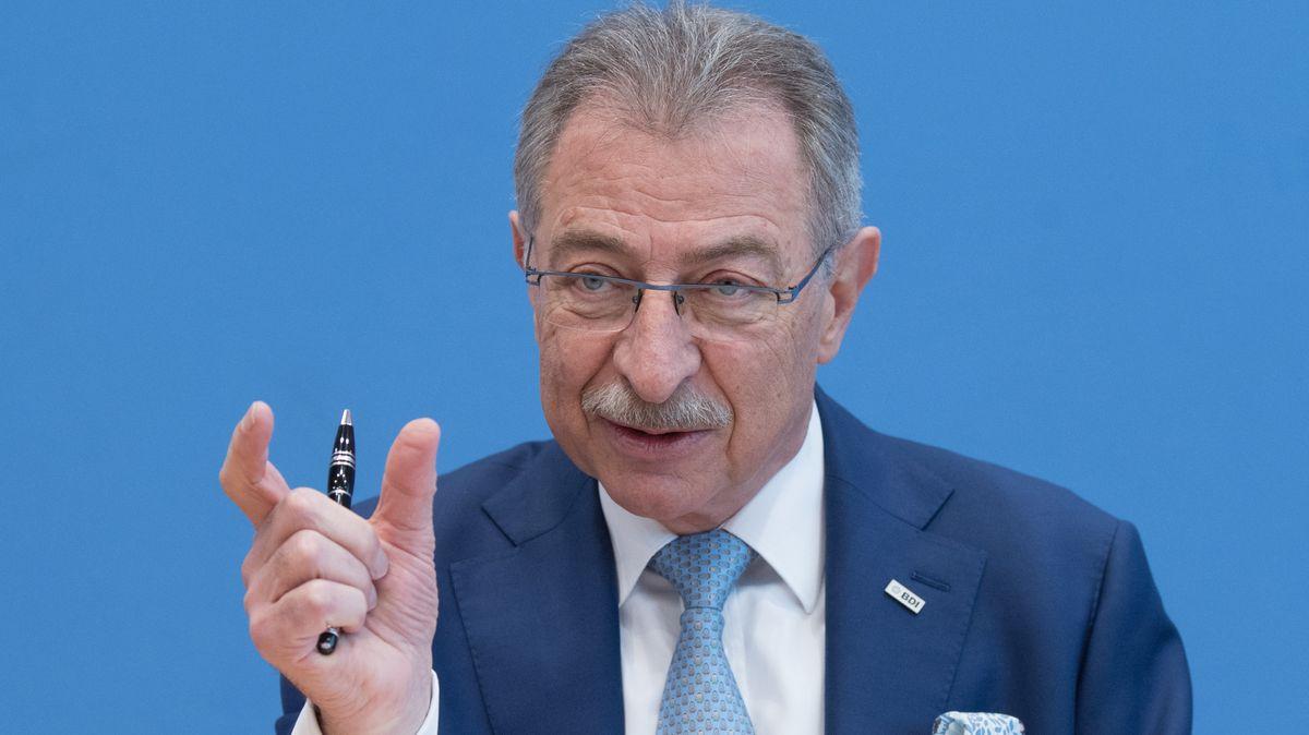 Dieter Kempf, Chef des Bundesverbands der Deutschen Industrie während einer Pressekonferenz