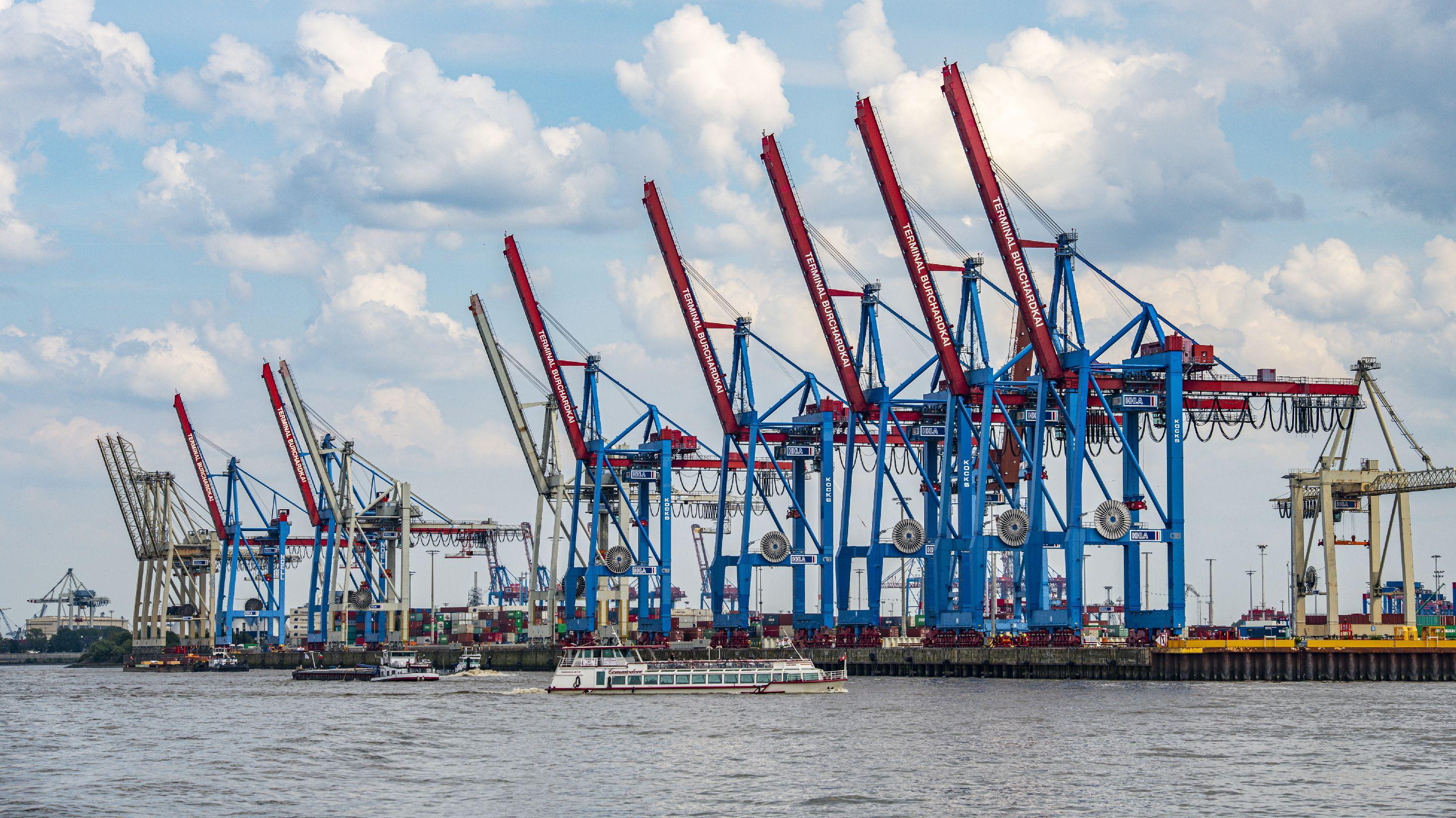 Ladekräne am Containerterminal des Hamburger Hafens.