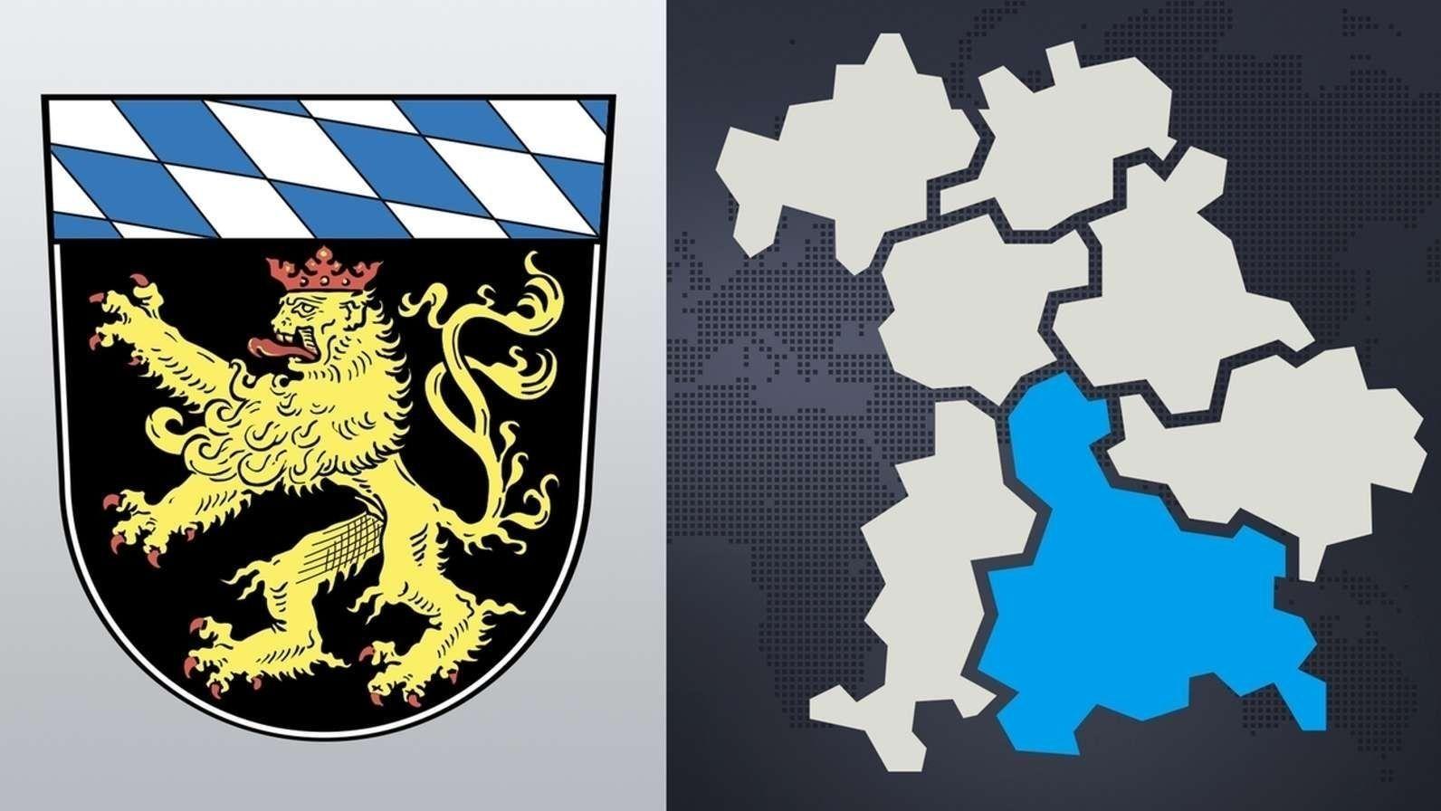 Das Wappen Oberbayerns und der Bezirk auf der Karte