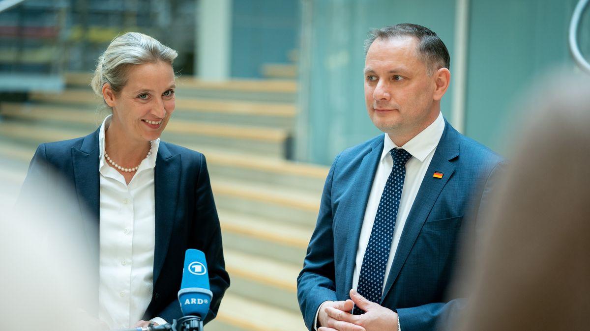 Alice Weidel, Fraktionsvorsitzende der AfD im Bundestag, und Tino Chrupalla, AfD-Bundesvorsitzender.