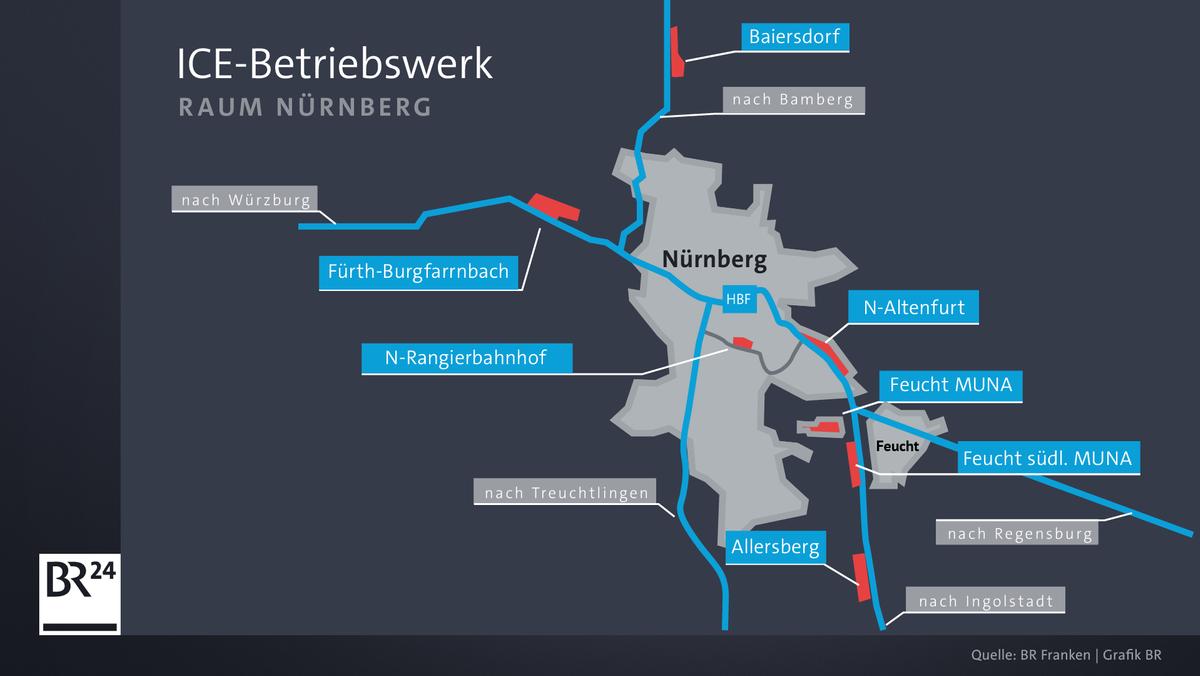 Karte mit möglichen Standorten des geplanten ICE-Werks