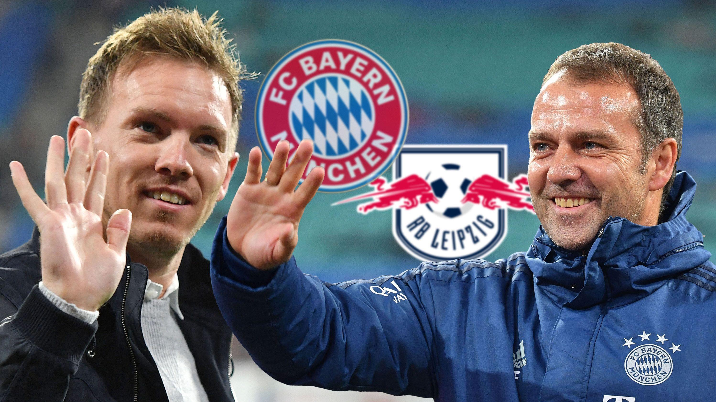 Julian Nagelsmann und Hansi Flick vor Wappen von RB Leipzig und FC Bayern München