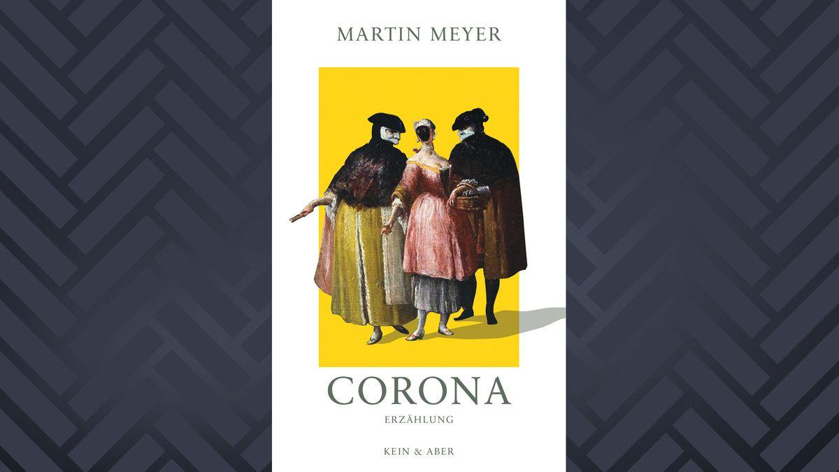 Weißgrundiges Buch-Cover mit gelber Mitte auf der ein Gemälde mit drei seuchenmaskierten Menschen ist.