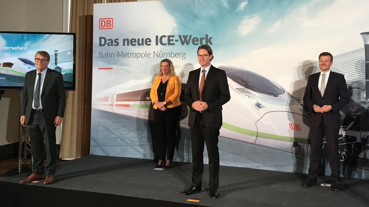 Ronald Pofalla, Kerstin Schreyer, Andreas Scheuer und Oberbürgermeister Markus König bei der Vorstellung in Nürnberg