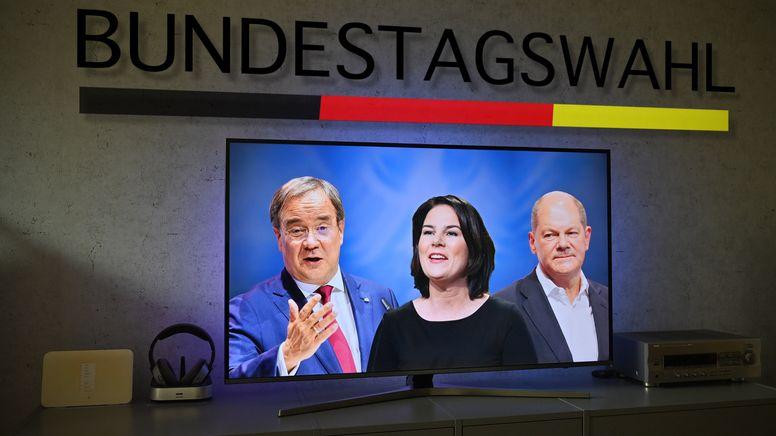 Die Kanzlerkandidaten zur Bundestagswahl 2021: v.li:Armin LASCHET (CDU), Annalena BAERBOCK, (Buendnis 90/die Gruenen), Olaf SCHOLZ (SPD). | Bild:picture alliance / SvenSimon | Frank Hoermann/SVEN SIMON