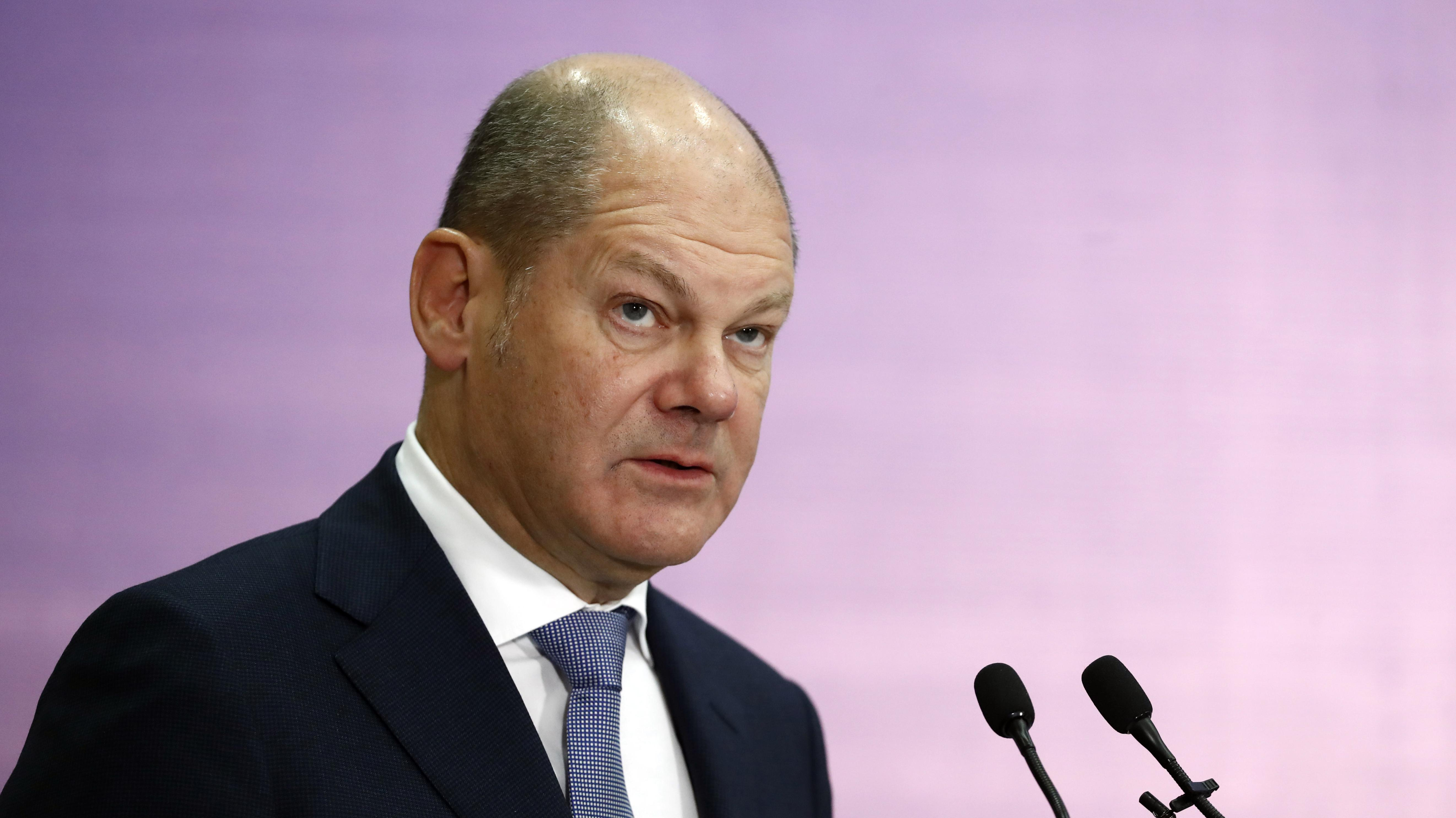 Finanzminister Olaf Scholz spricht auf einer Veranstaltung