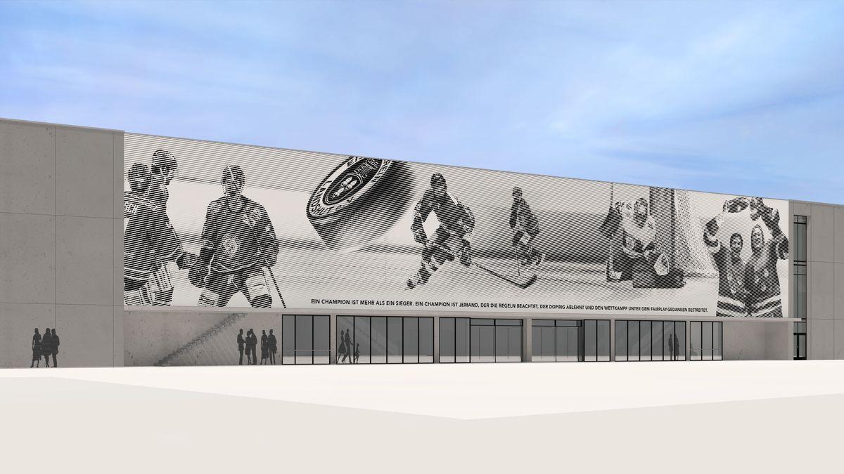"""Der Entwurf """"Tradition trifft Moderne"""" an der Außenfassade des Landshuter Eisstadions"""