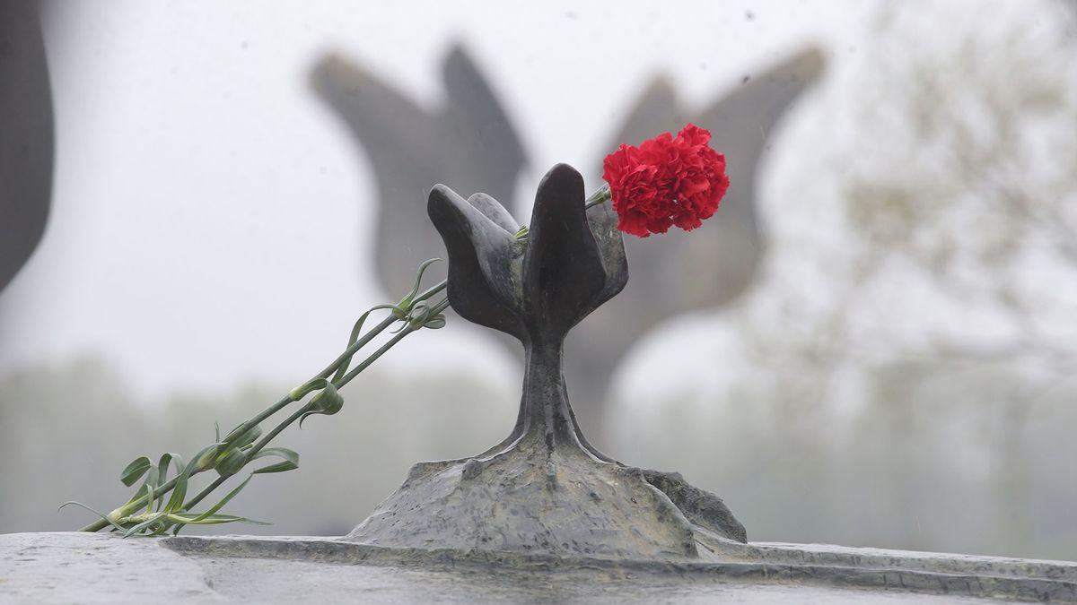 Eine rote Nelke auf einer Gedenkstätte