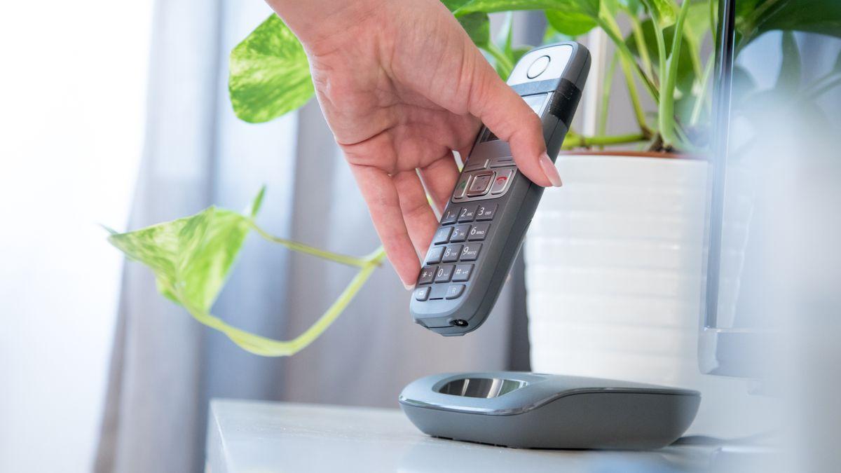 Eine  Frau nimmt ein Festnetz-Telefon in die Hand