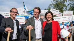 Alexander Dobrindt, Andreas Scheuer und Ilse Aigner beim Spatenstich für den Starnberger Tunnel | Bild:dpa-Bildfunk/Matthias Balk