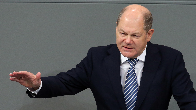 Bundesfinanzminister Olaf Scholz bei seiner Haushaltsrede im Bundestag