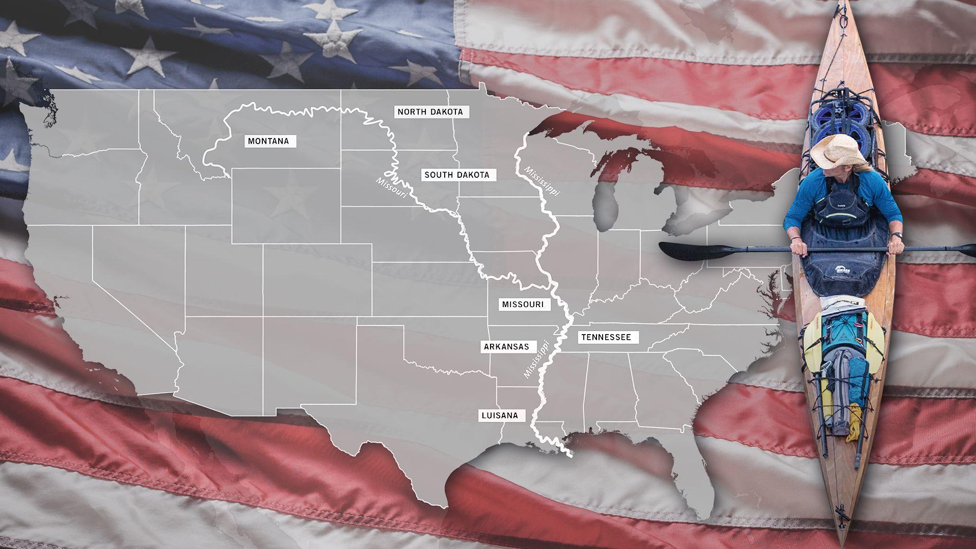 Eine Karte der USA und ein Kanufahrer, dahinter ist eine US-Flagge montiert