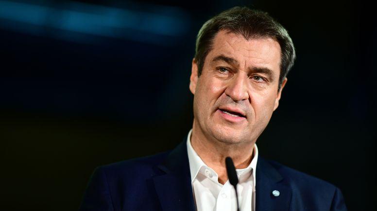 Markus Söder, CSU-Vorsitzender und bayerischer Ministerpräsident, spricht bei einem Pressestatement nach der Bundestagswahl    Bild:pa/dpa/Fabian Sommer