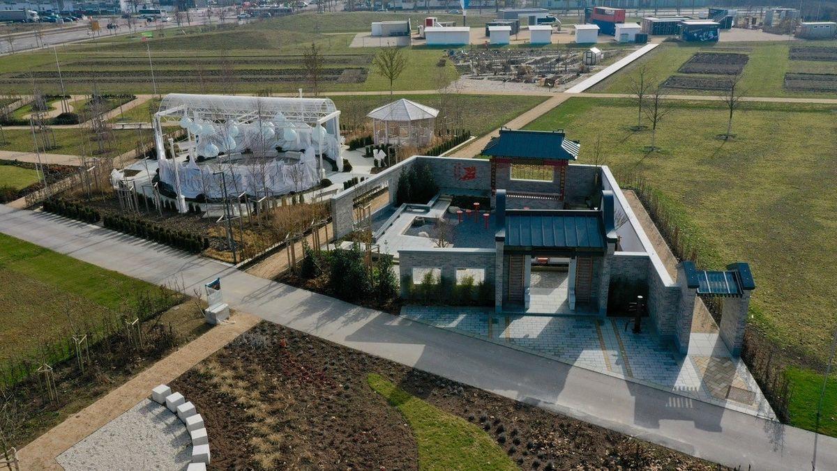 Das Gelände der Landesgartenschau aus der Luft. Im April soll die Gartenschau für Besucher öffnen-