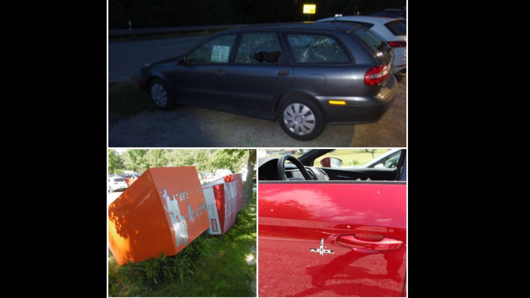 Oben: Eingeschlagene Autoscheiben. Unten links: Umgekippte Müllcontainer. Unten rechts: Angeschossene Fahrertür.