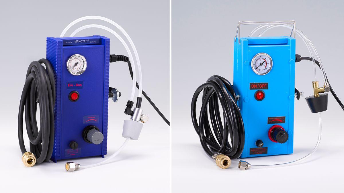 Elektrisches Bremsenentlüftungsgerät: links Original - rechts Fälschung