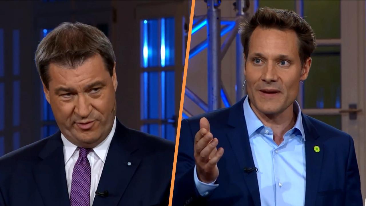 Markus Söder gegen Ludwig Hartmann im TV-Duell