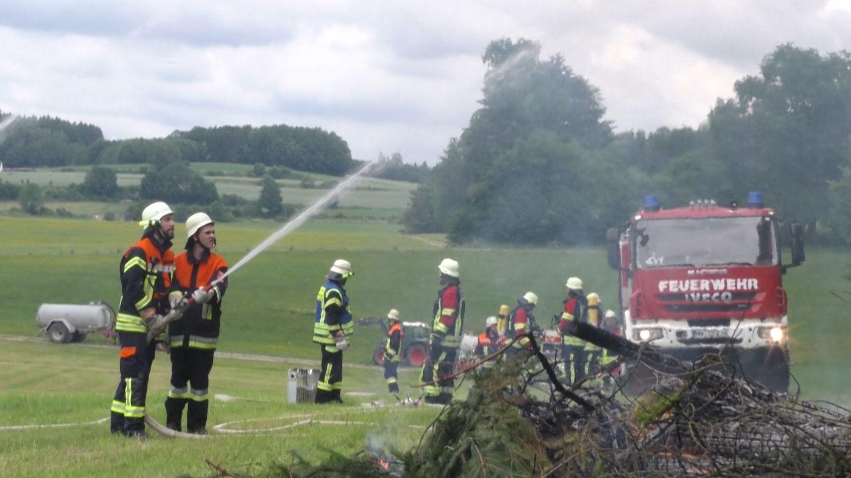 Waldbrandübung im Unterallgäu