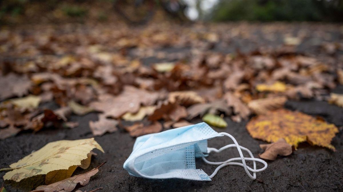 Eine weggeworfene Maske liegt zwischen Herbstlaub auf einer Straße (Symbolbild)